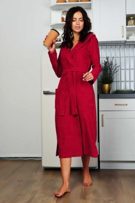 Удлиненный халат Луиза бордовый