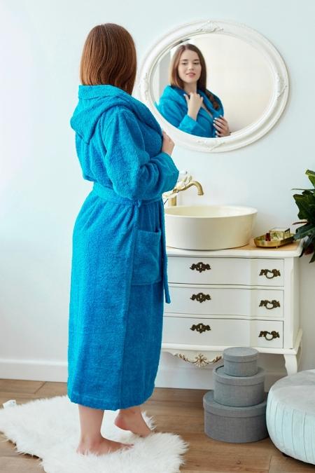 Махровый халат с капюшоном Liliya бирюза