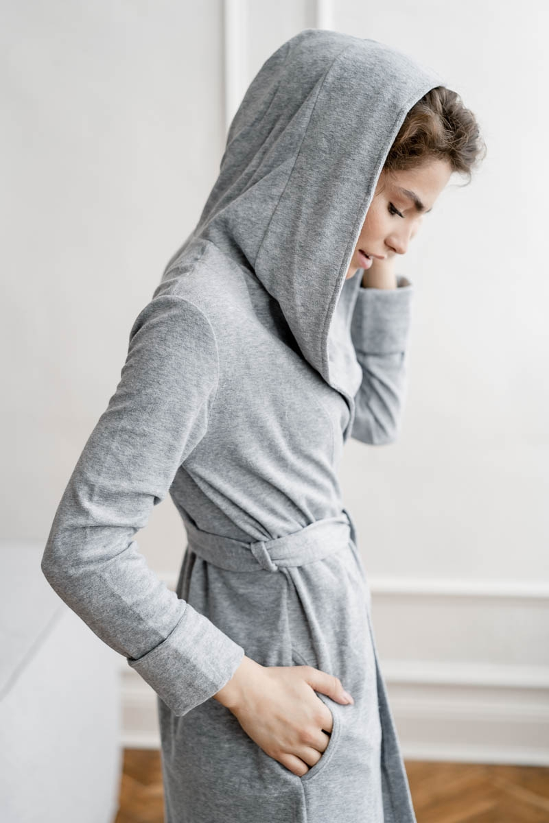 Женский халатик Марта серый меланж