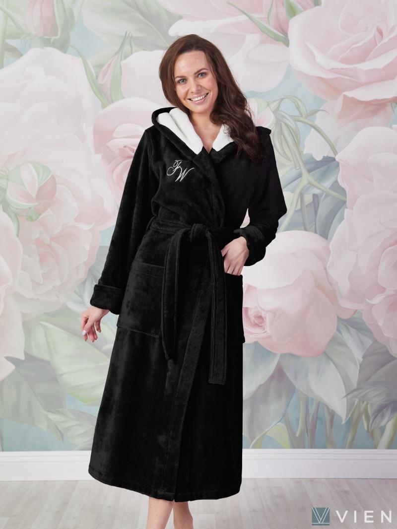 Чёрный женский халат VIOLETTA