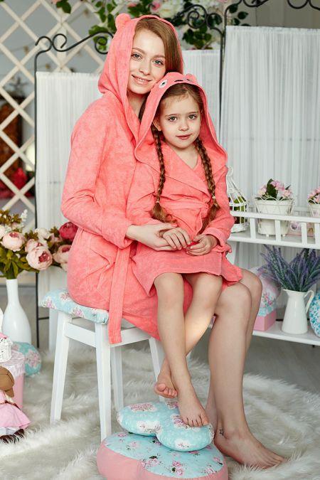 Халатики мама с дочкой персик