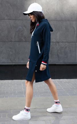 Спортивное платье-худи П-03 т-синее