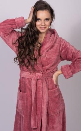Женский бамбуковый халат LADY сухая роза