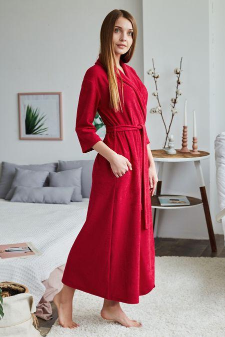Женский халат Кармен бордовый
